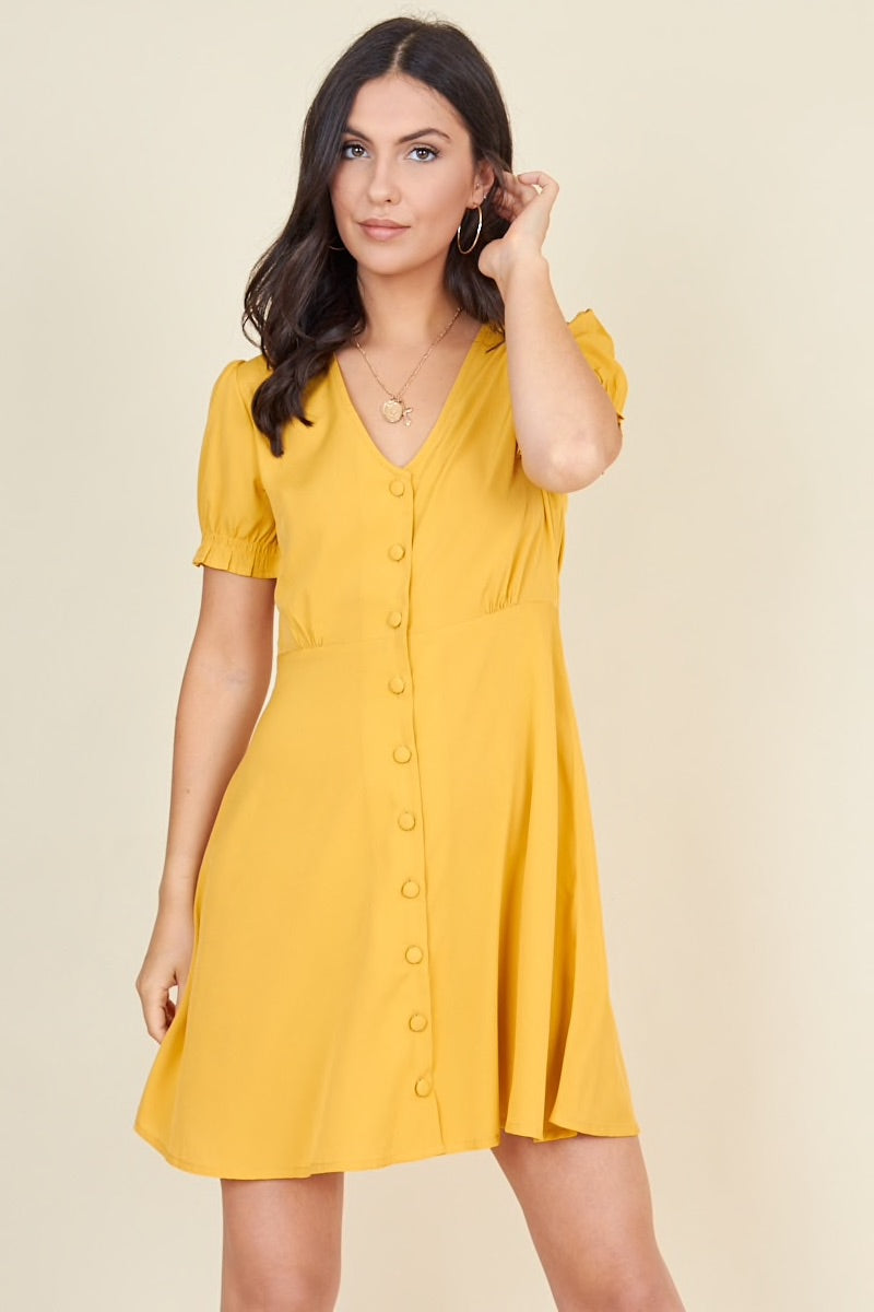 Mustard button through dress