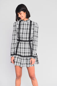 Checked  dress with peplum hem