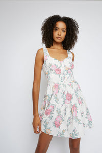 Rose print tiered dress