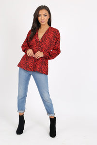 Red Leopard top by Influence