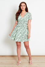 Load image into Gallery viewer, Pale green floral mini dress