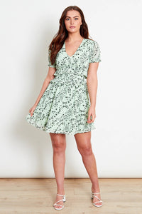 Pale green floral mini dress