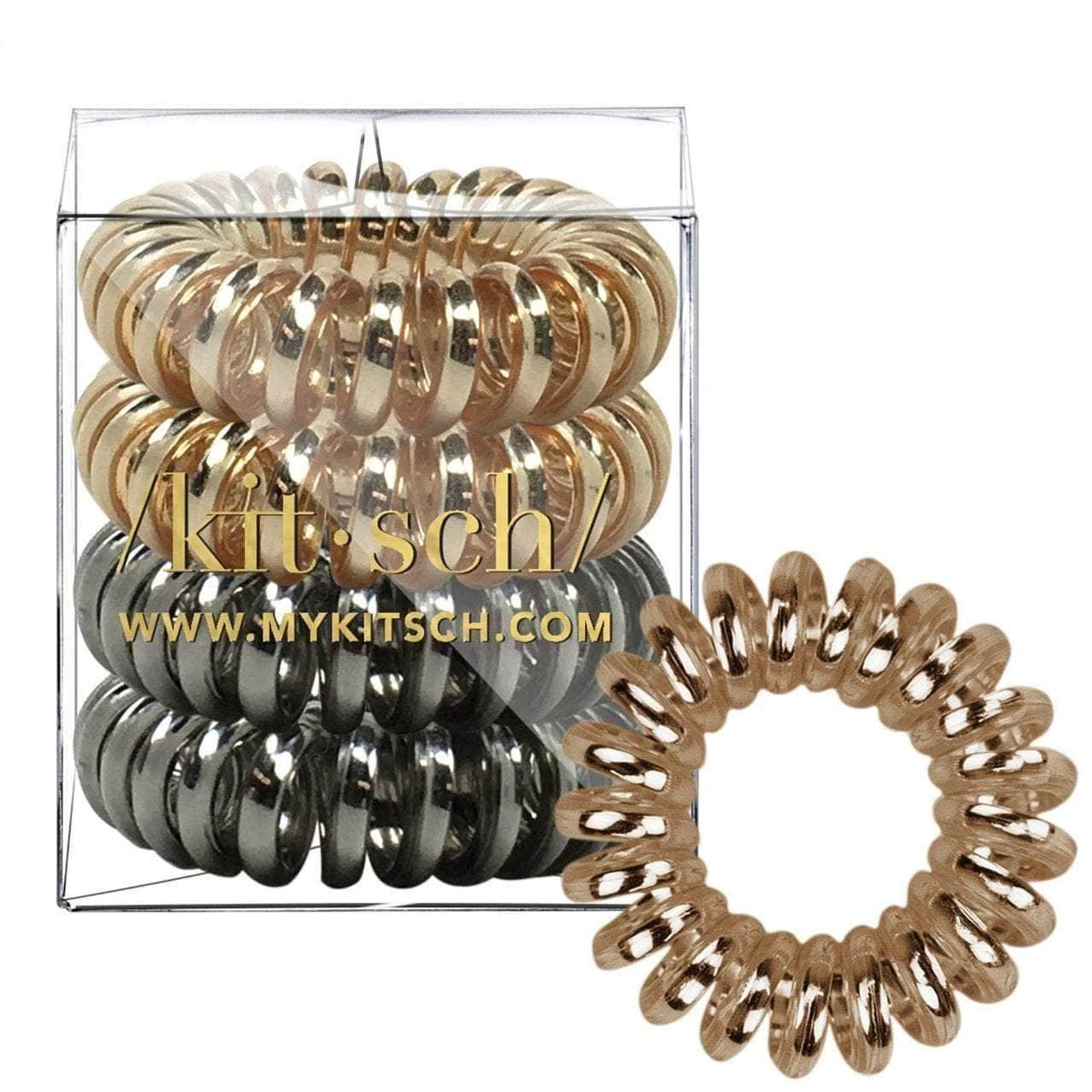 4 Pack Hair Coils - Metallic - KITSCH