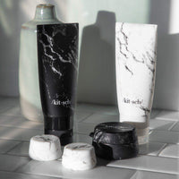 Refillable Silicone Jars 3pc Set - Black & White Marble