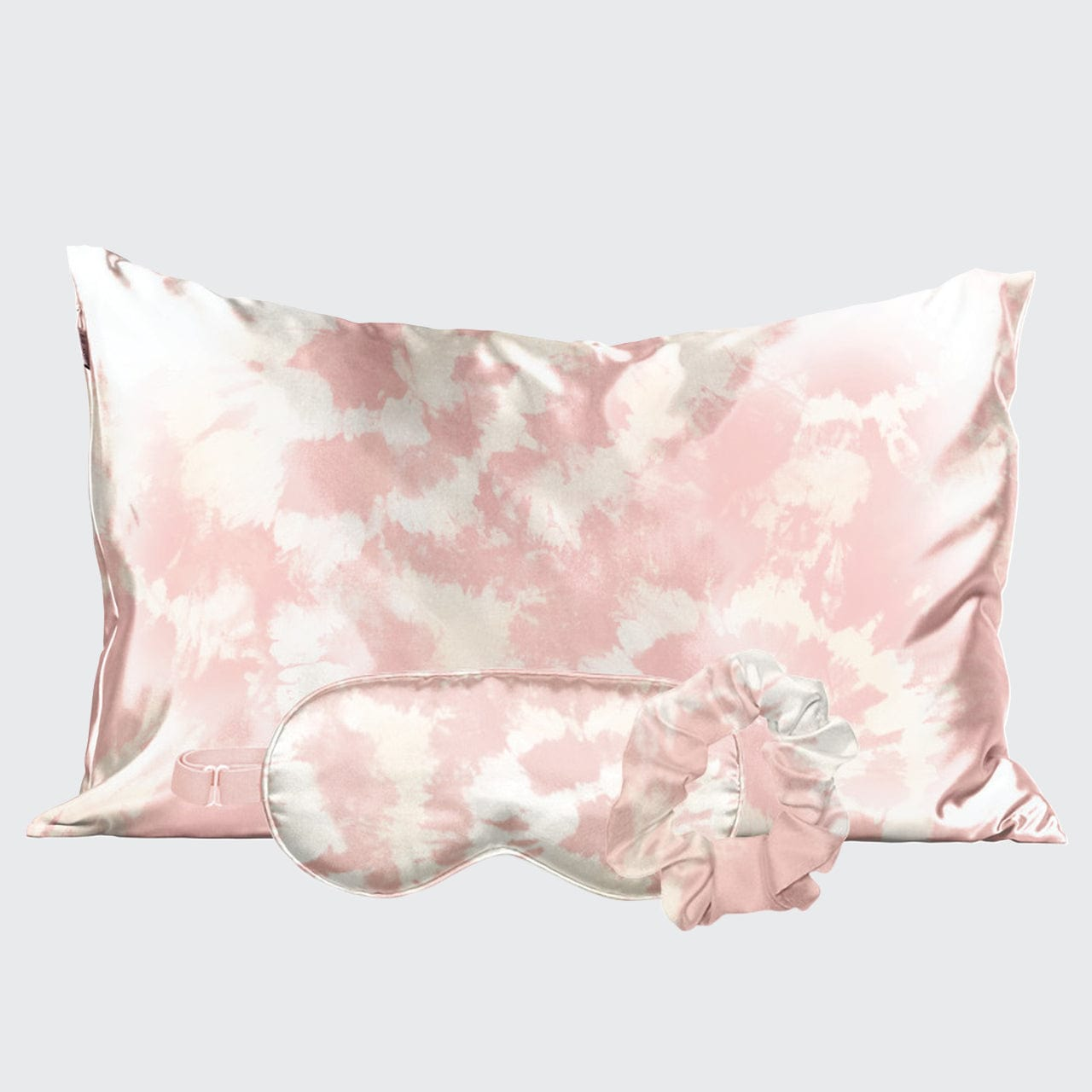 Satin Sleep Set - Blush Tie Dye 1 standard size pillowcase, 1 eye mask, and 1 scrunchie