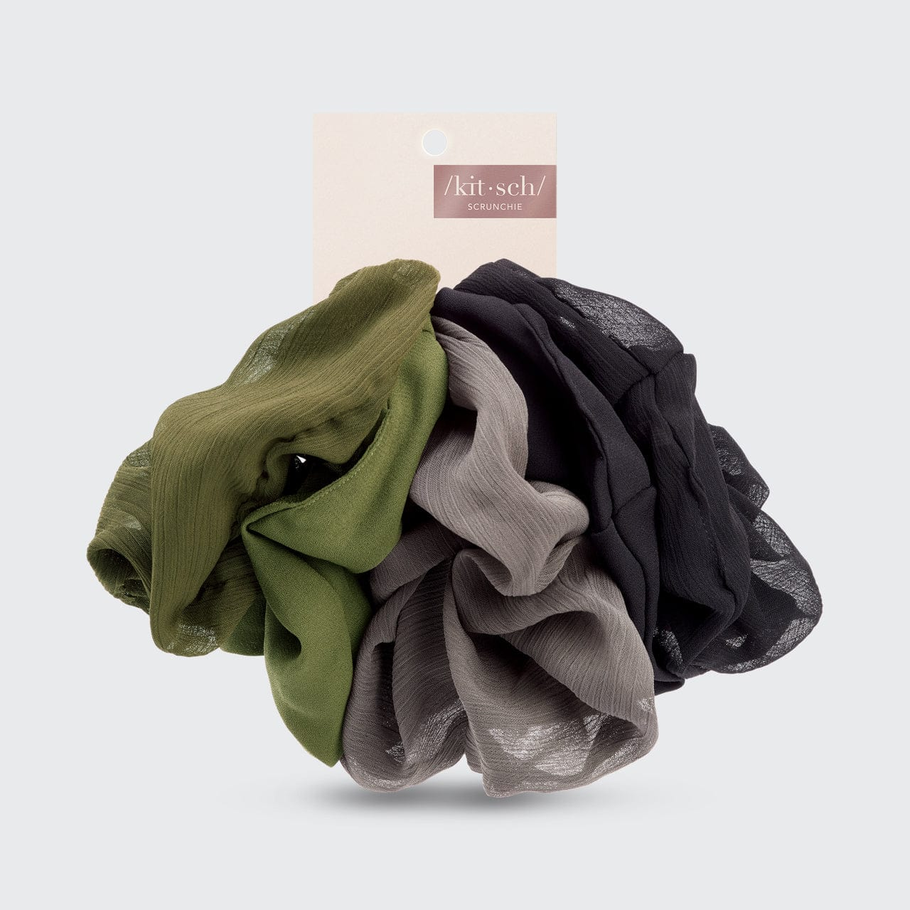 Crepe Scrunchie 5pc - Moss
