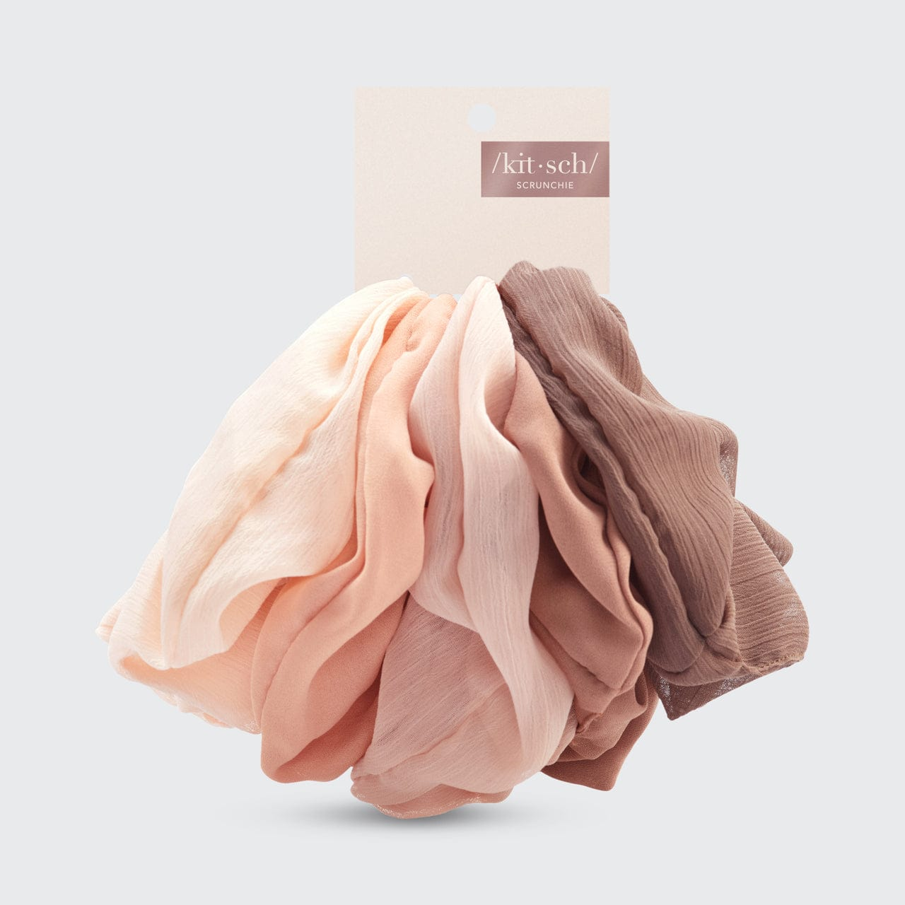 Crepe Scrunchie 5pc - Terra Cotta