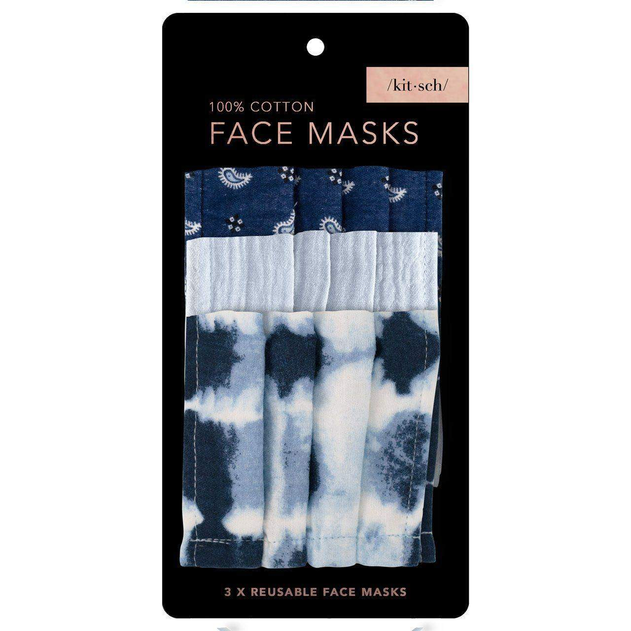 Cotton Face Mask 3pc Set - Blue Tie Dye