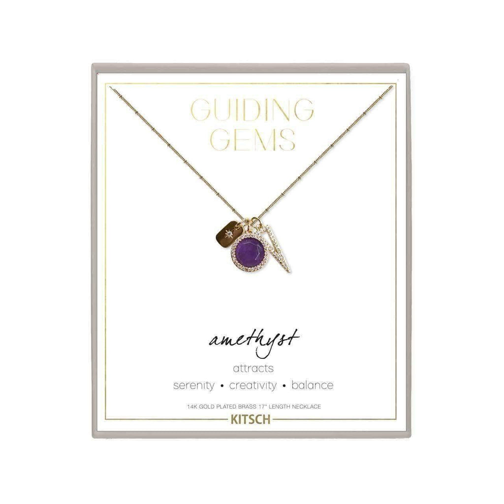Amethyst Guiding Gems Cluster Charm Necklace - KITSCH