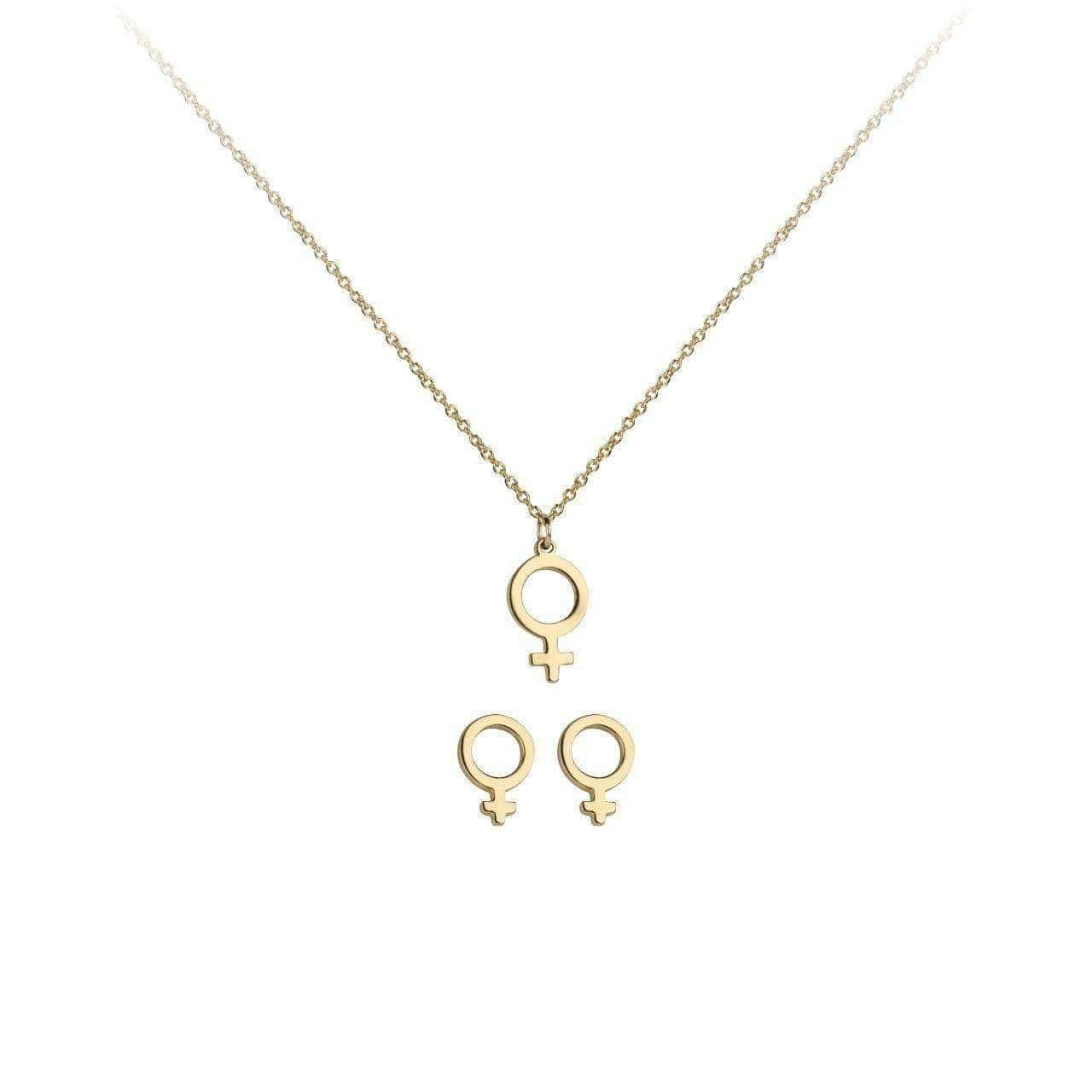 Boss Lady Necklace & Earring Set Gold - KITSCH