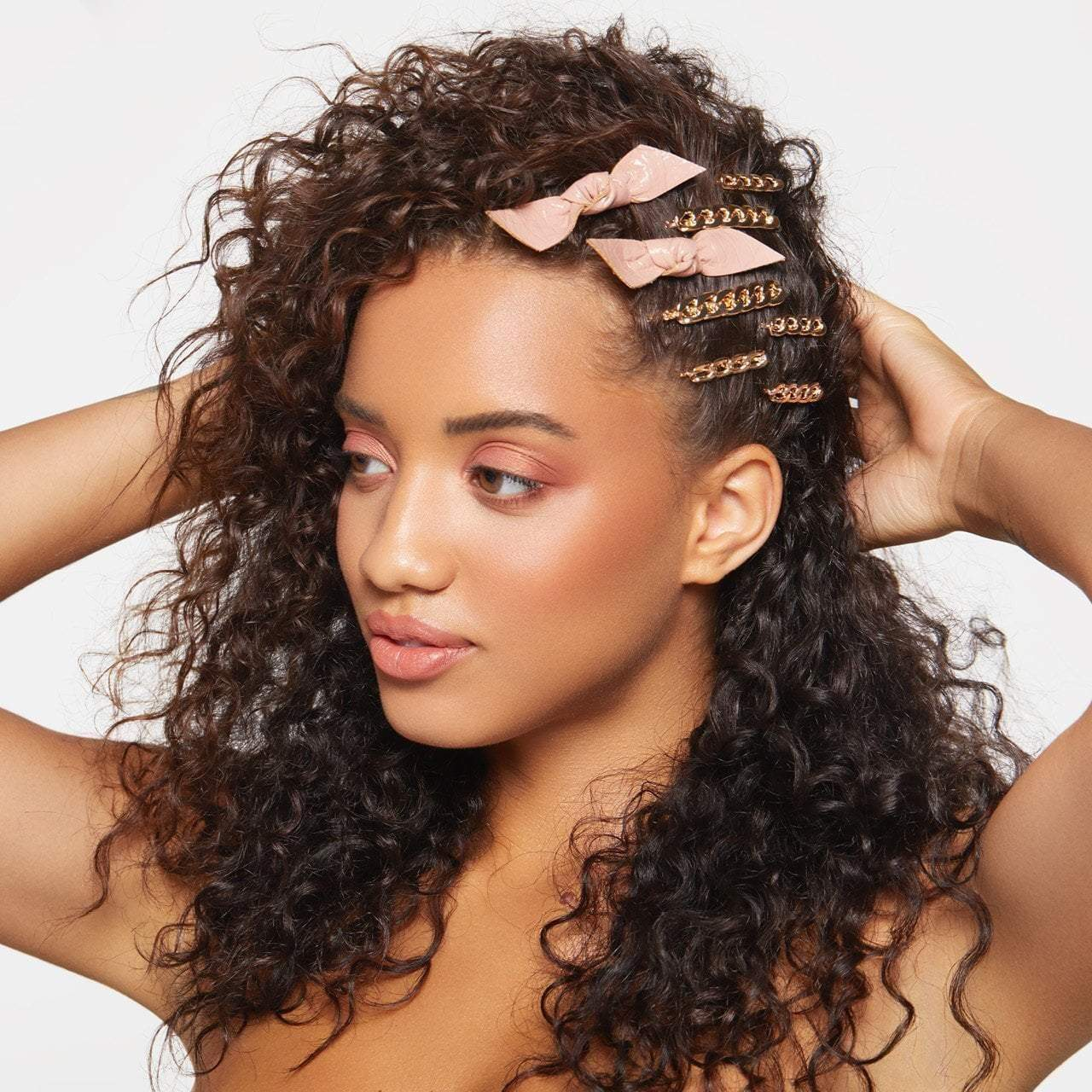 Chain & Bow Bobby Pin 8pc Set - Blush/Gold - KITSCH