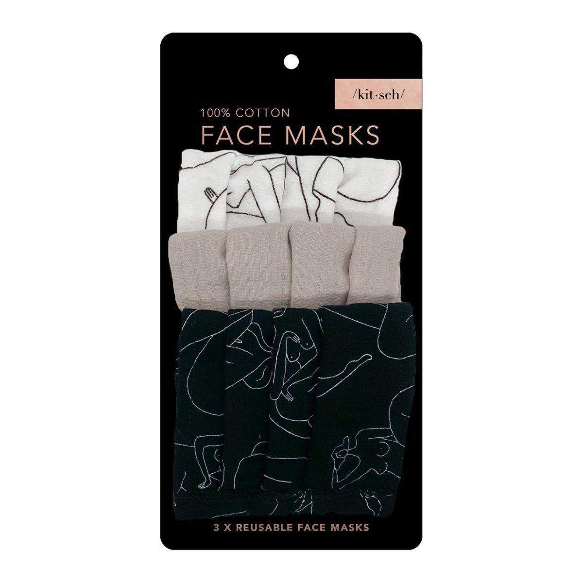 Cotton Face Mask 3pc Set - Figure Drawing - KITSCH