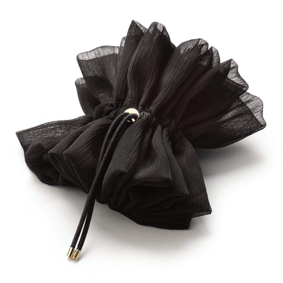 Drawstring Chiffon Scrunchie - Black - KITSCH