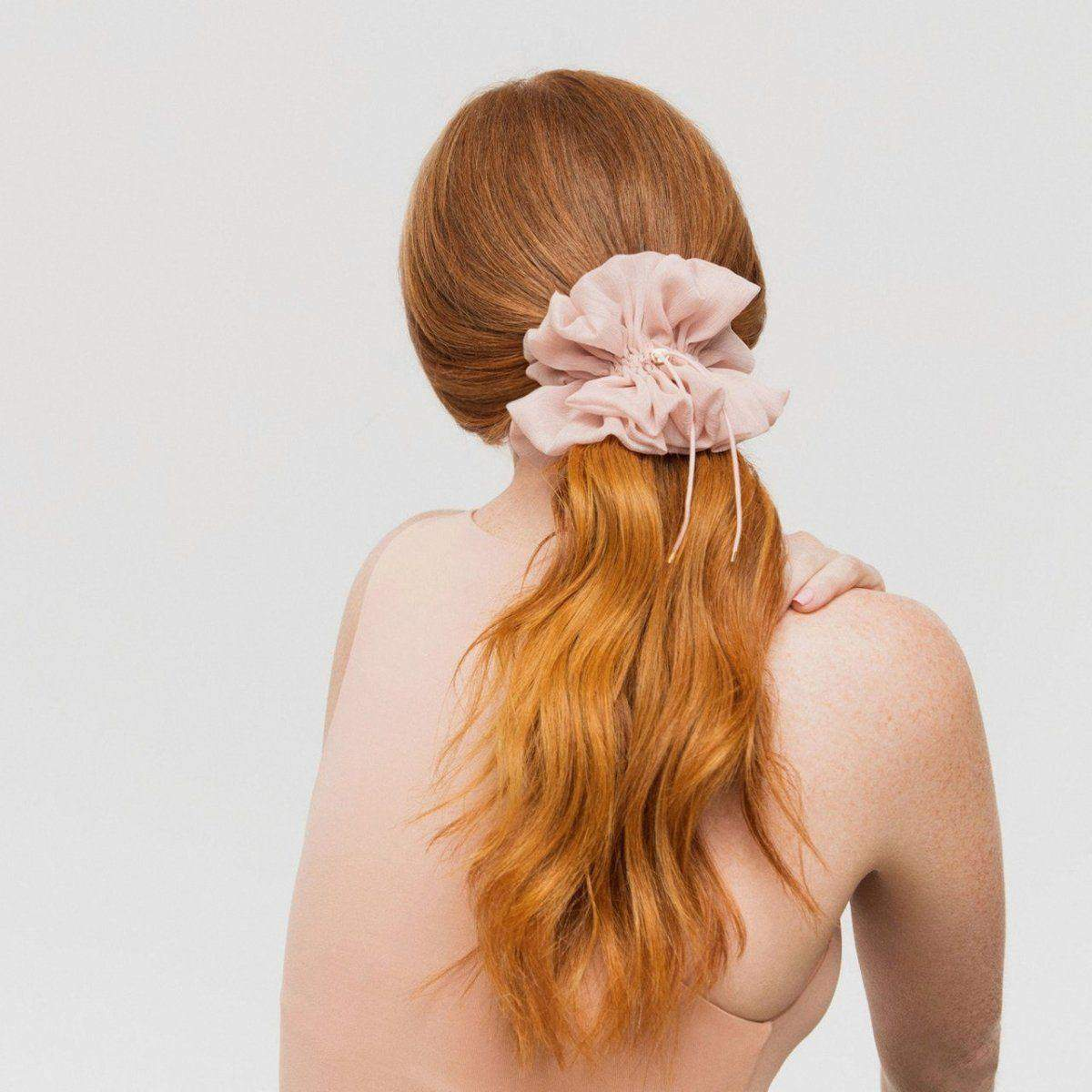 Drawstring Chiffon Scrunchie - Blush - KITSCH
