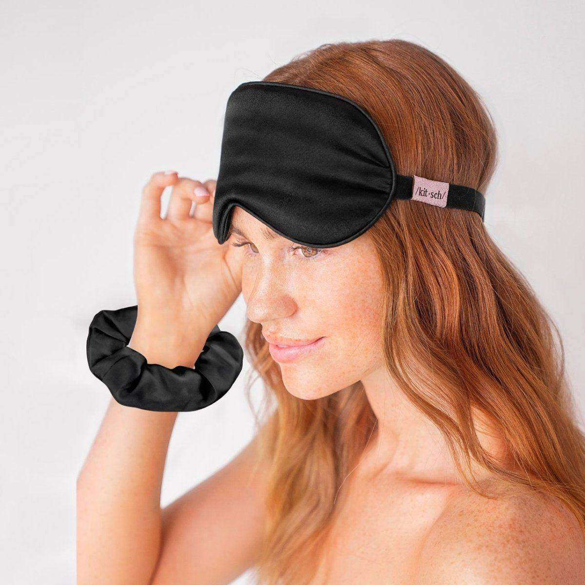 Eye Mask & Scrunchie Set - Black - KITSCH