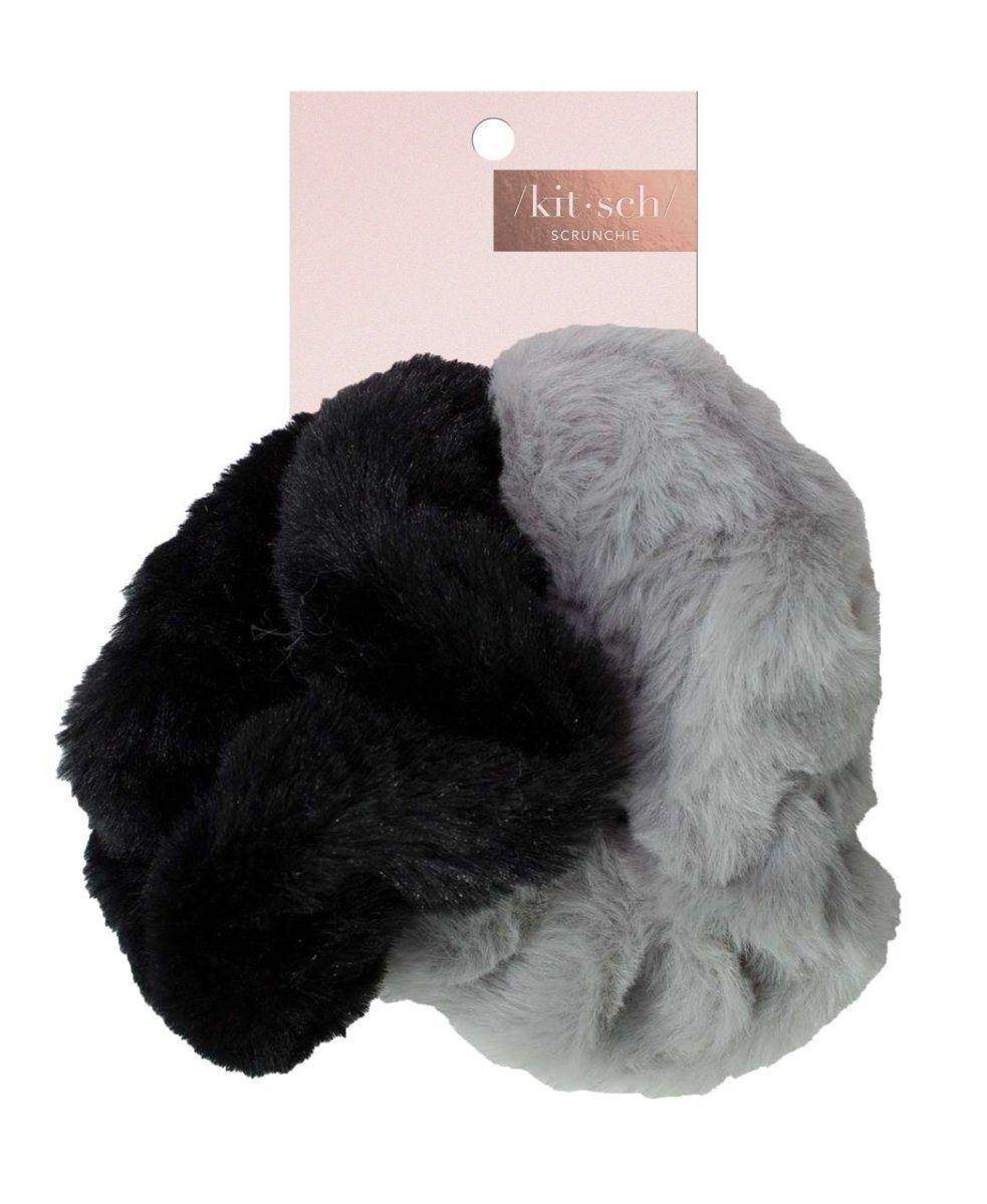Faux Fur Scrunchies - Black/Grey - KITSCH