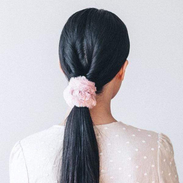 Faux Fur Scrunchies - Blush/Mauve - KITSCH