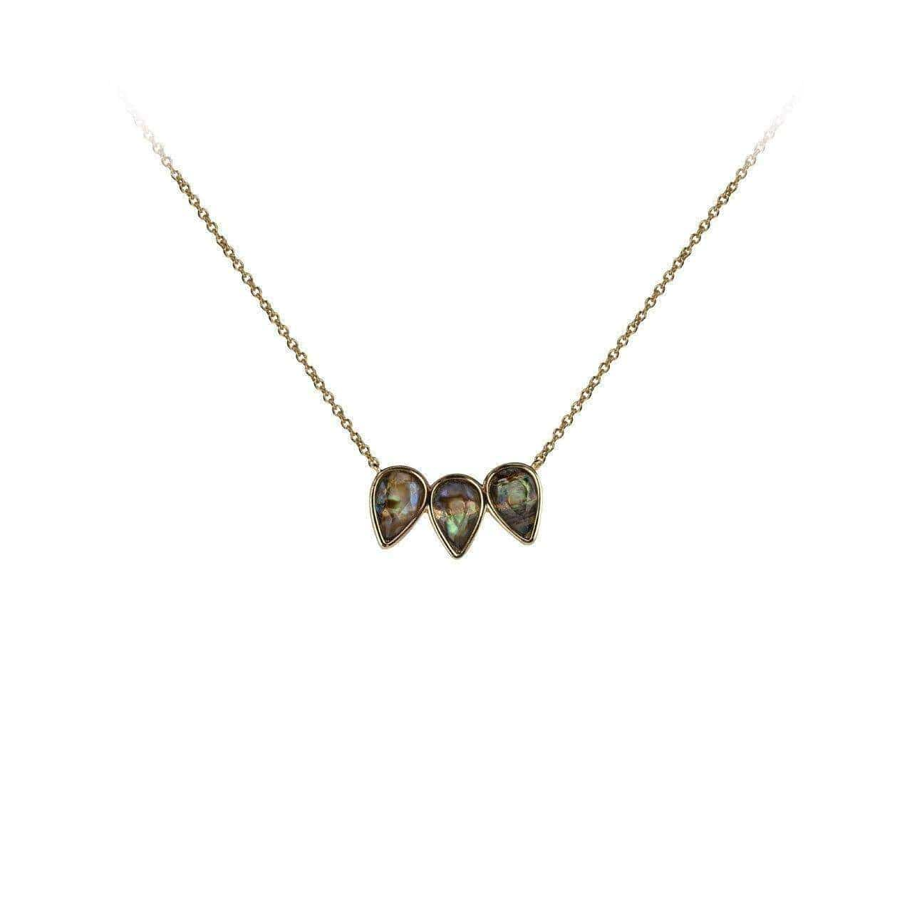 Guiding Gems Pear Trio Necklace - Abalone - KITSCH