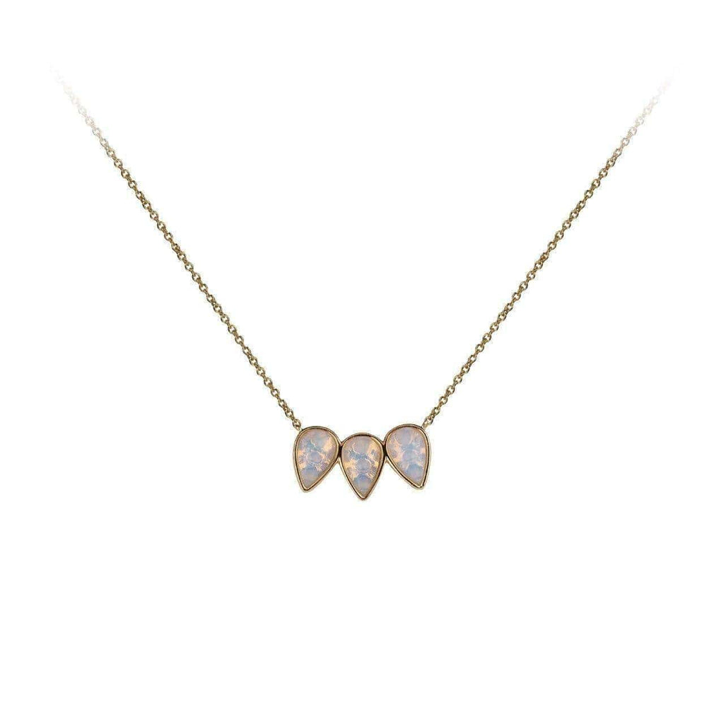 Guiding Gems Pear Trio Necklace - Moonstone - KITSCH