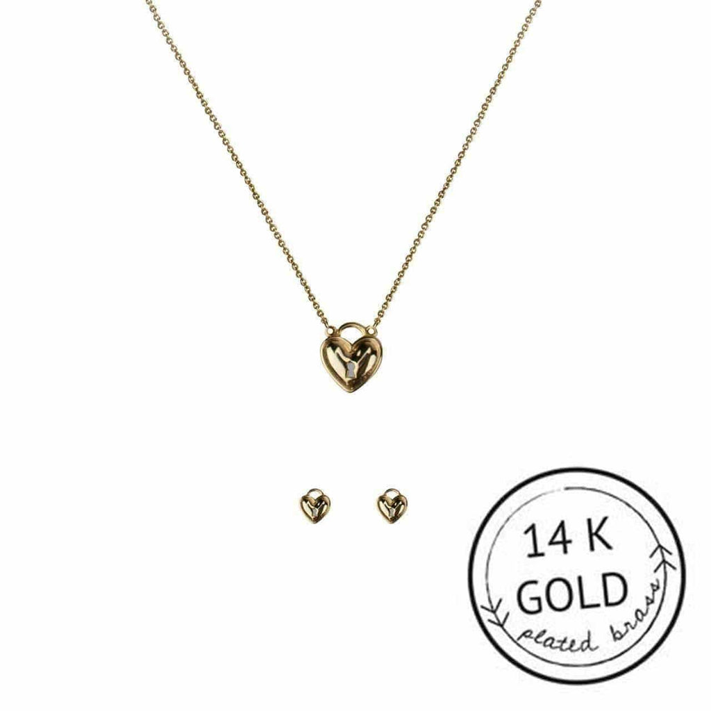KITSCH Jewelry Gold Heart Lock Necklace & Earring Set