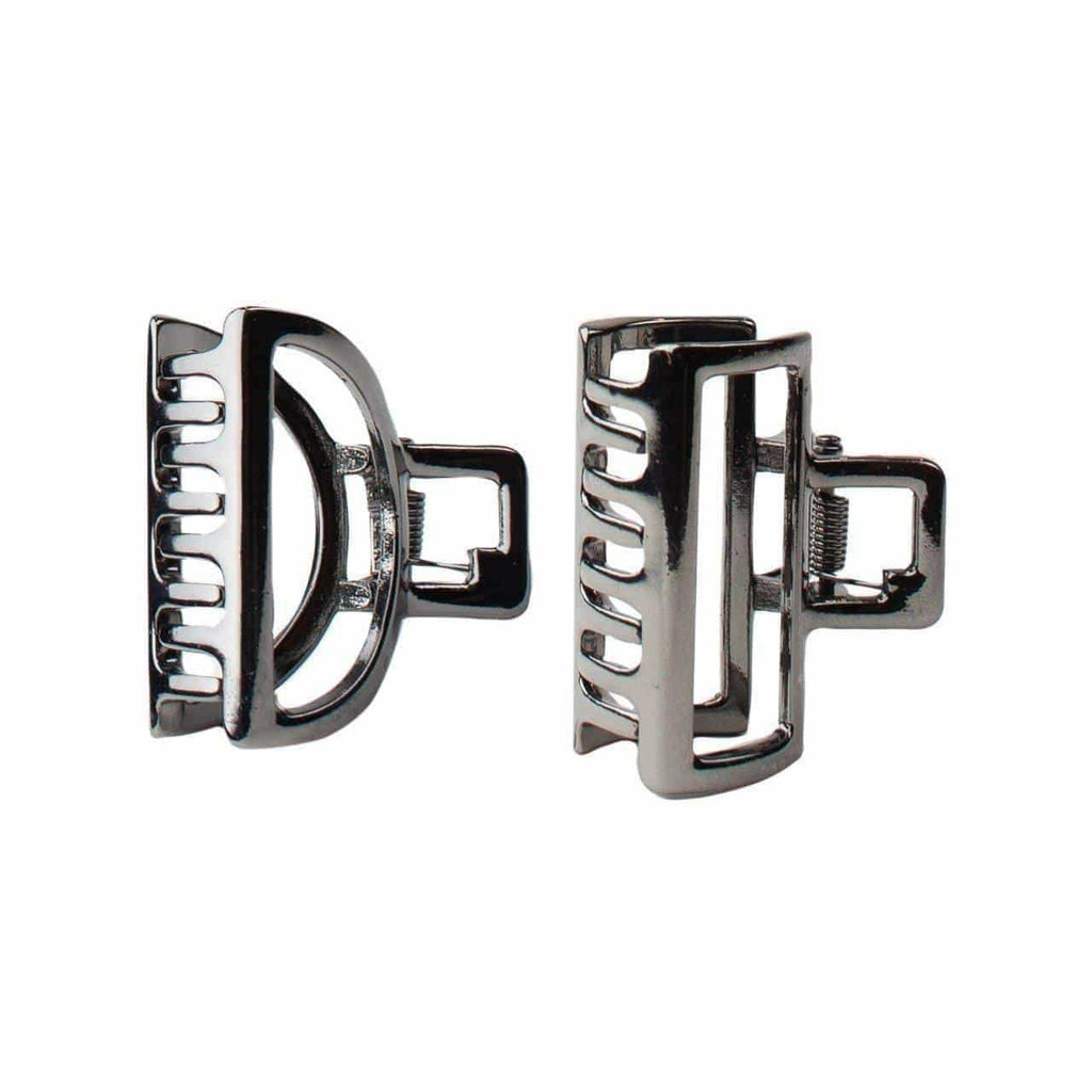 Mini Open Shape Claw Clips- Round Hematite 2pc - KITSCH