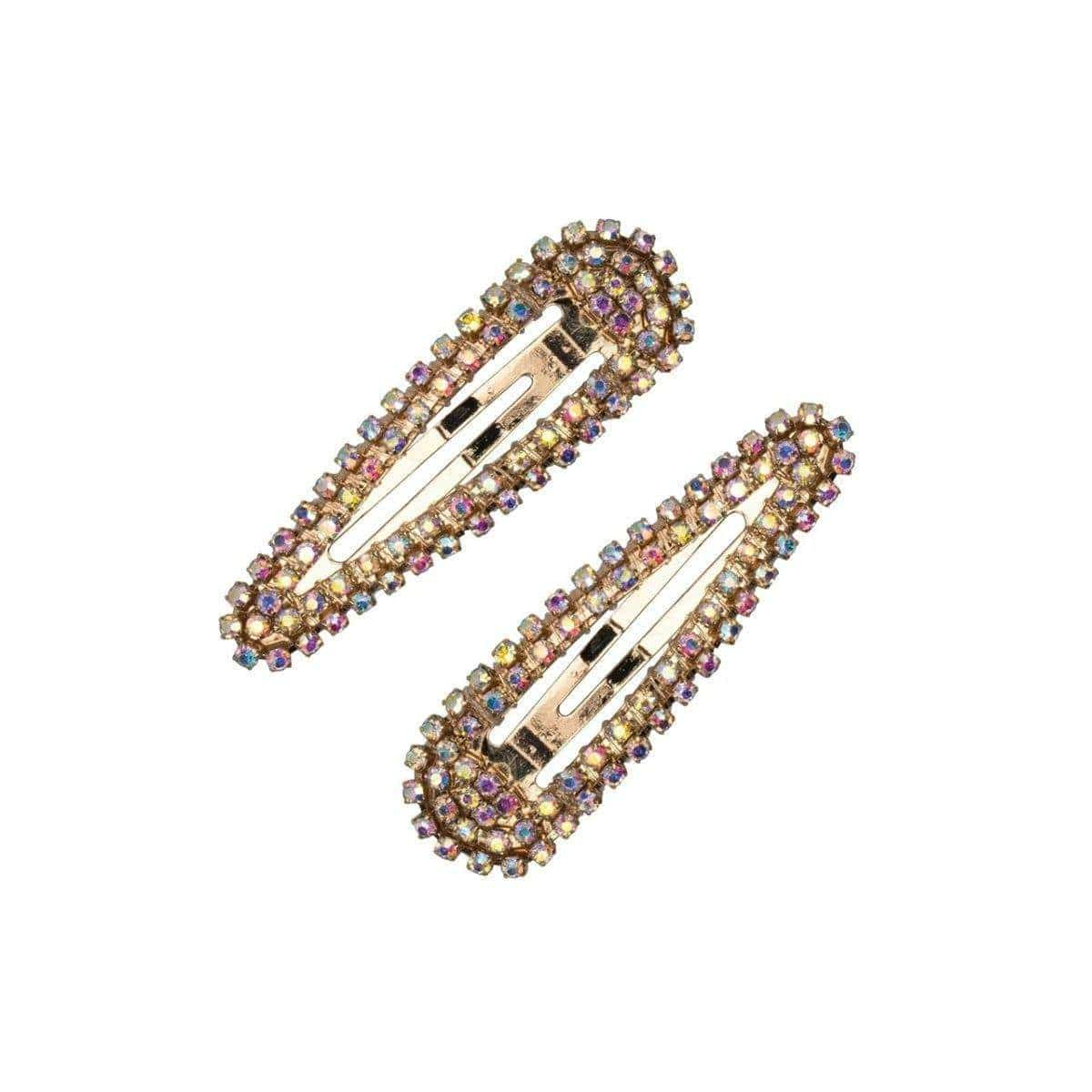 Mini Rhinestone Snap Clips - Iridescent/Gold - KITSCH