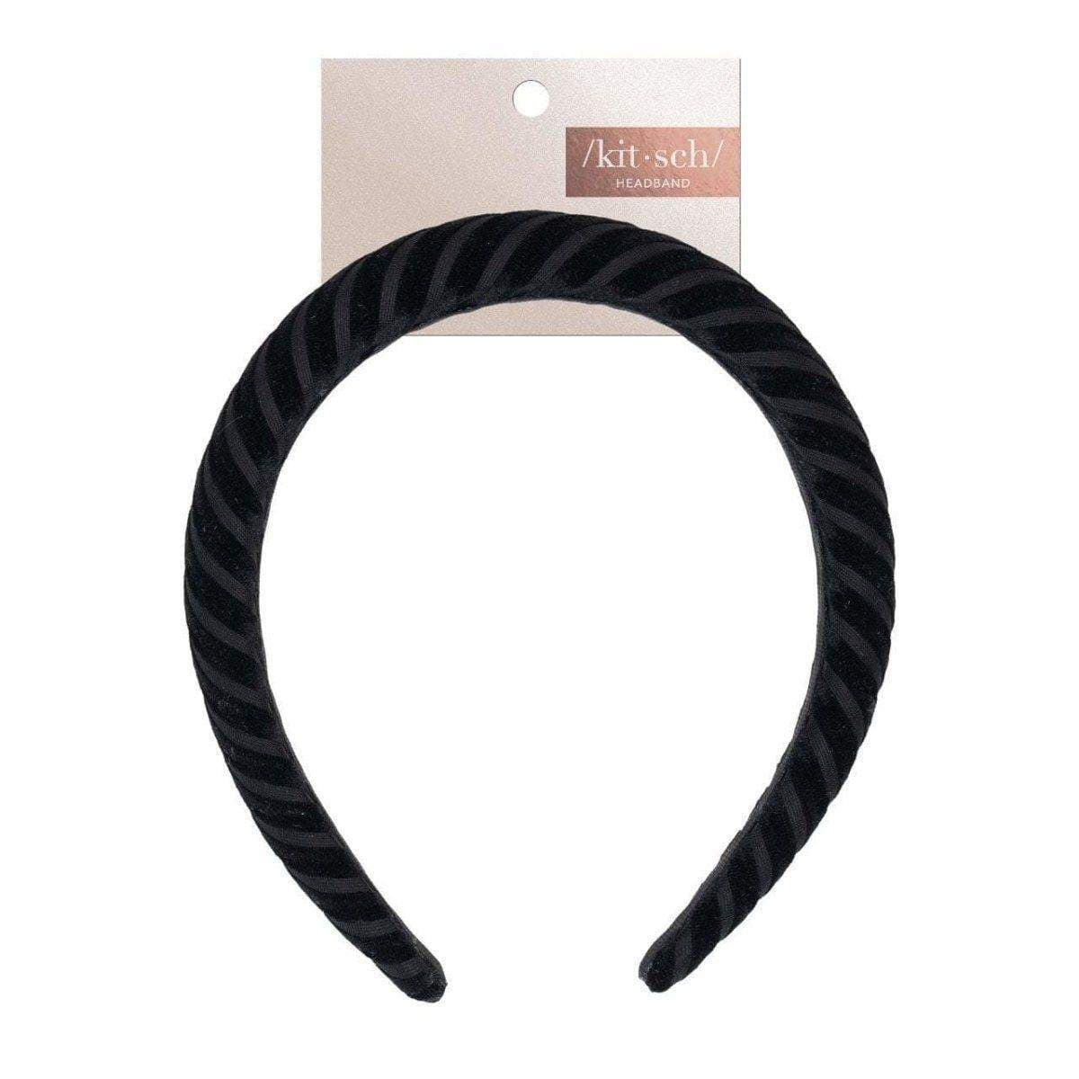 Padded Velvet Headband - Black - KITSCH