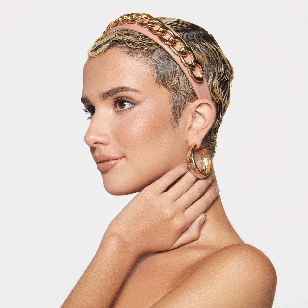 Patent Headband with Chain - Blush
