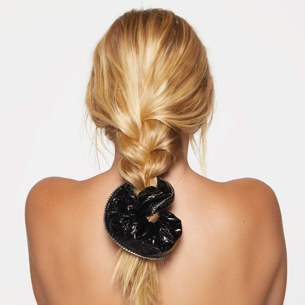 Patent Scrunchie with Chain - Black - KITSCH