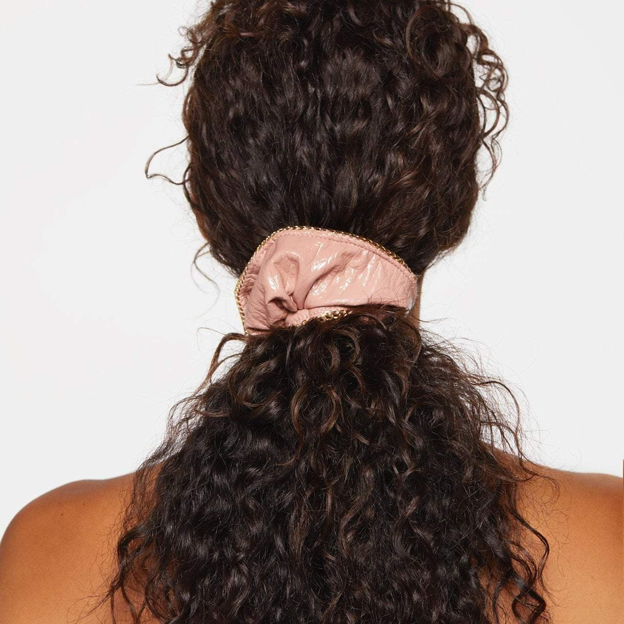 Patent Scrunchie with Chain - Blush - KITSCH