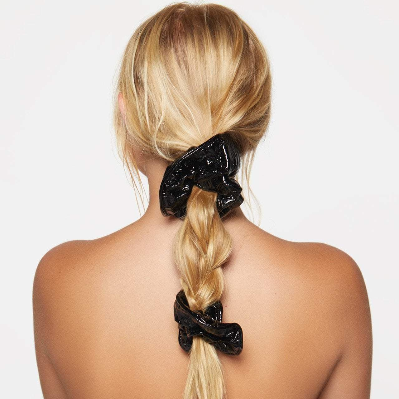 Plain Patent Scrunchie 2pc Set - Black - KITSCH