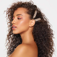 Rhinestone Chain Bobby Pin 2pc Set - Gold - KITSCH