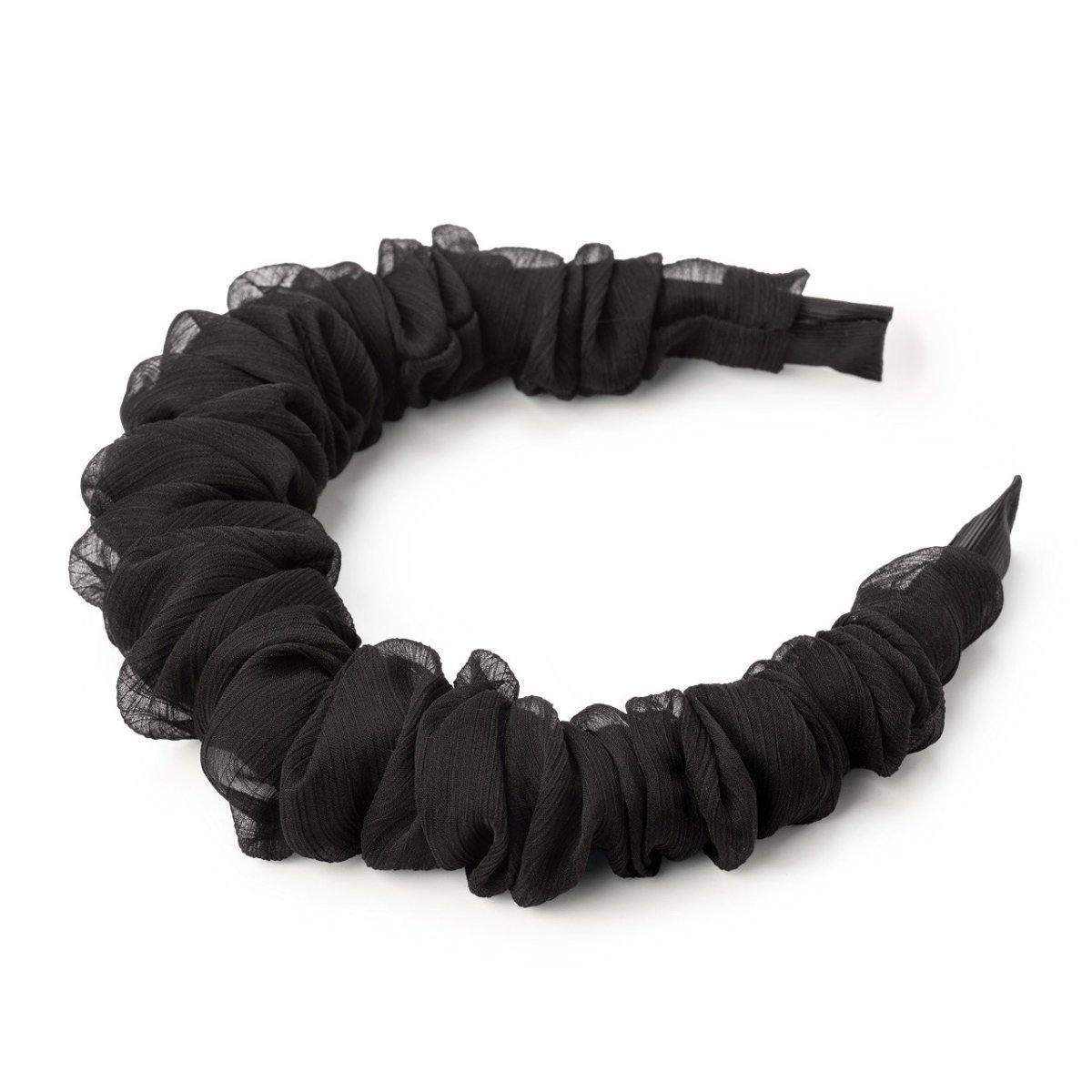 Ruched Chiffon Headband - Black - KITSCH
