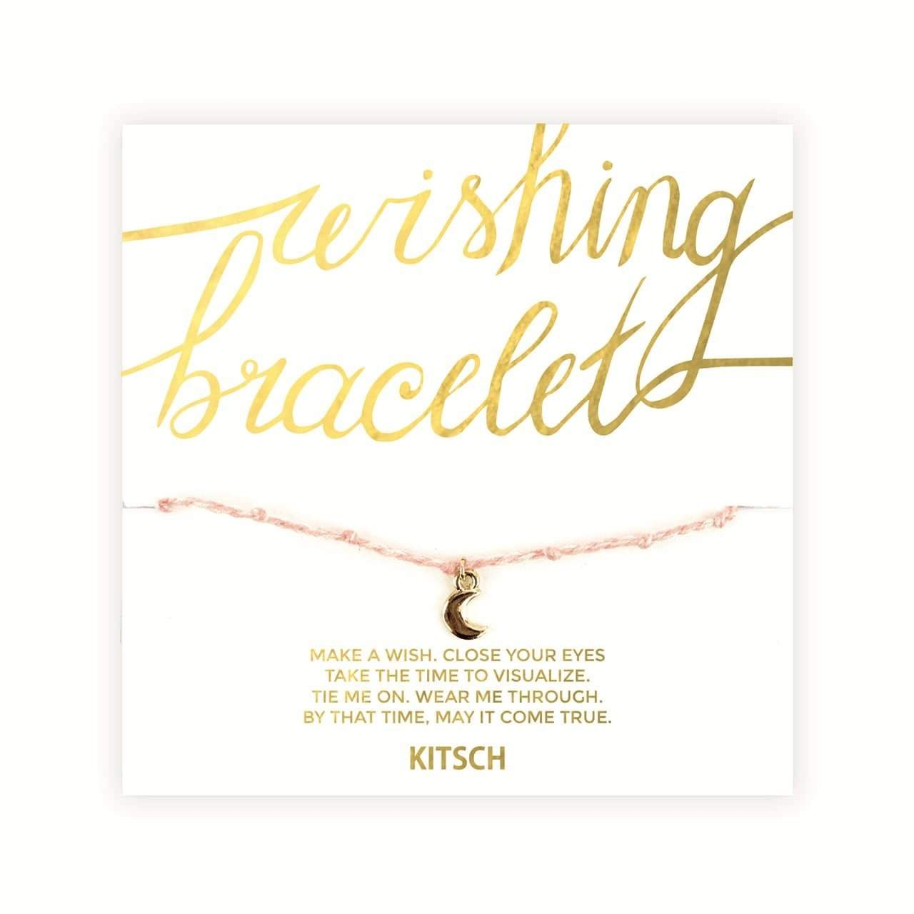 Wishing Bracelet Peach- Moon Charm - KITSCH