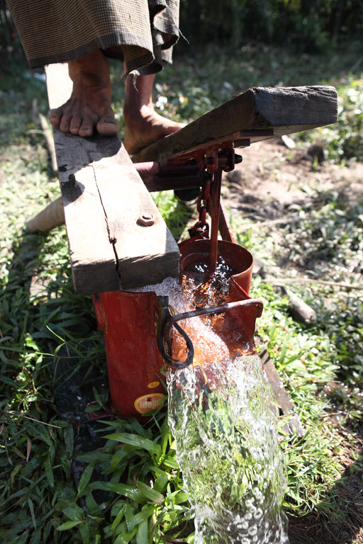 a person's feet using a treadle pump to water crops
