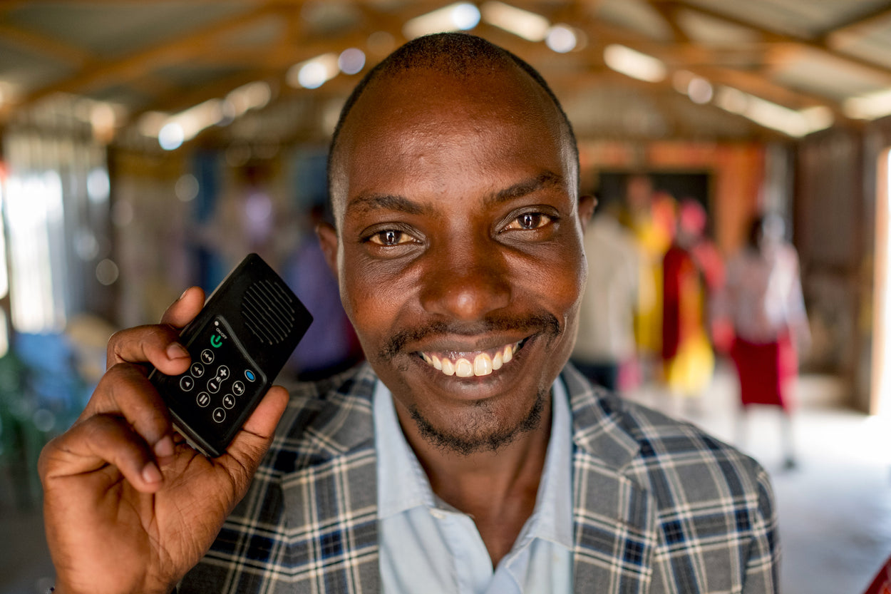 A Solar Audio Bibles gives this man the ability to hear the Gospel in their own language.