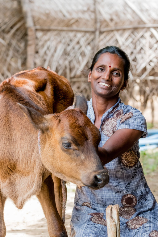a woman sitting next to a cow