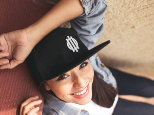 White Logo Snapback Hat Solid