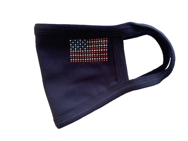 USA Flag Rhinestud Mask in Navy or White