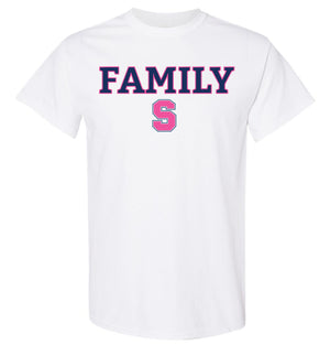 SAMPLE Staples PINK OUT white short sleeve t-shirt