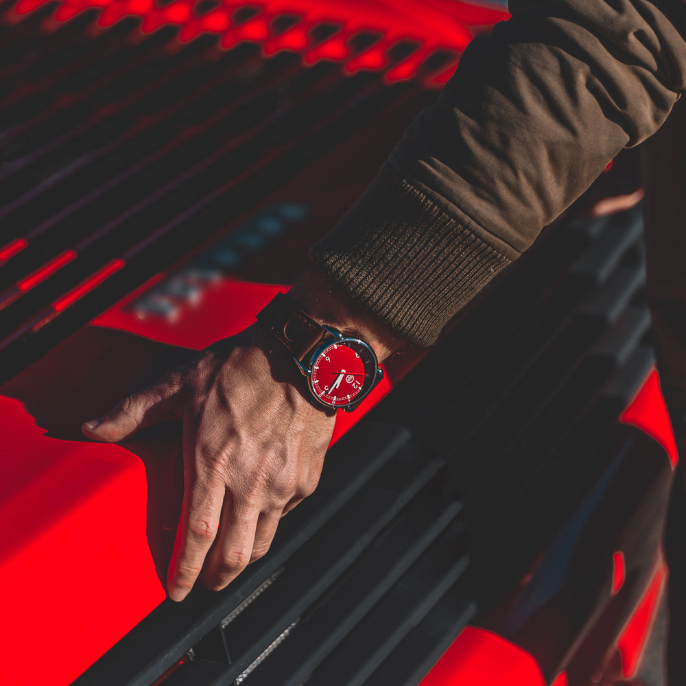 Rosso Red Watch, 42mm, made from Ferrari 348 TB parts