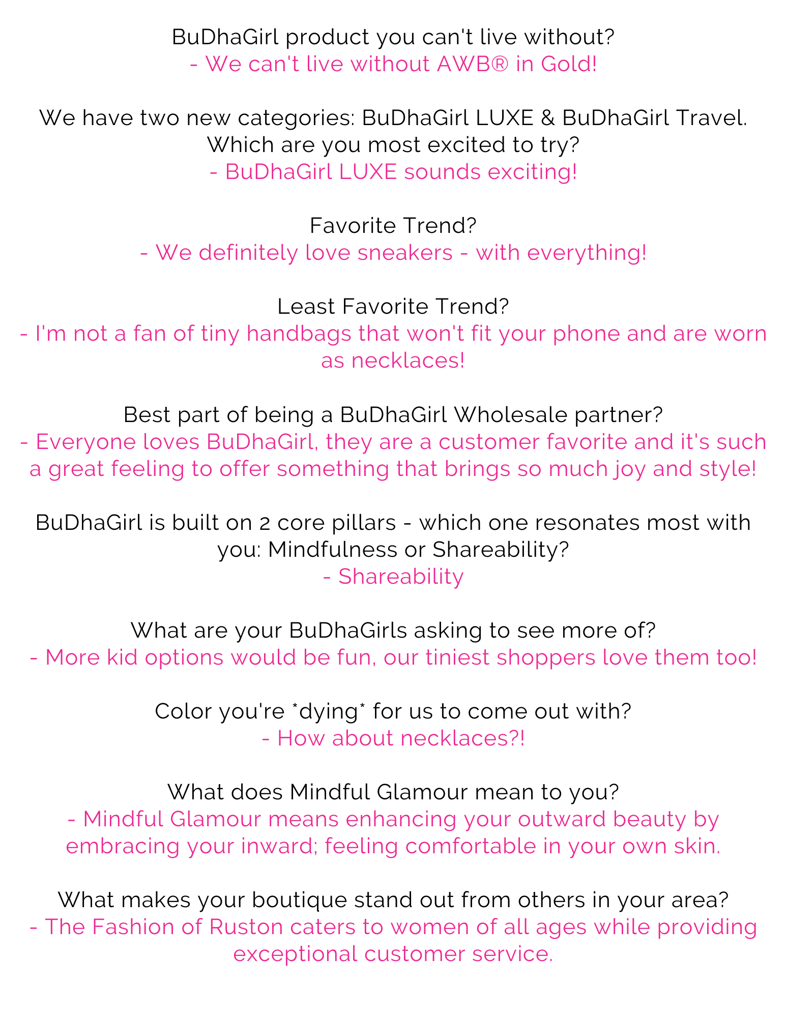 BuDhaGirl's June Store of the Month: The Fashion of Ruston Questionnaire