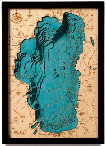 Lake Tahoe Wooden Topography Map