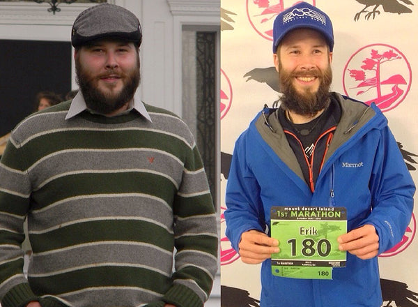 5 year difference, 207lb in my worst state on left - on the right Oct 2018 Mount Desert Island Marathon, Acadia National Park, Maine - Erik Hamilton