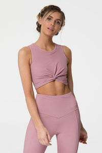 Front Twist Crop Top Blush
