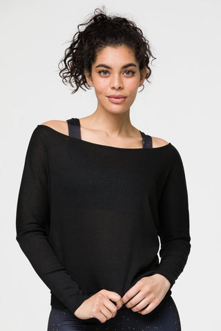 Off Shoulder Rib Black Tank