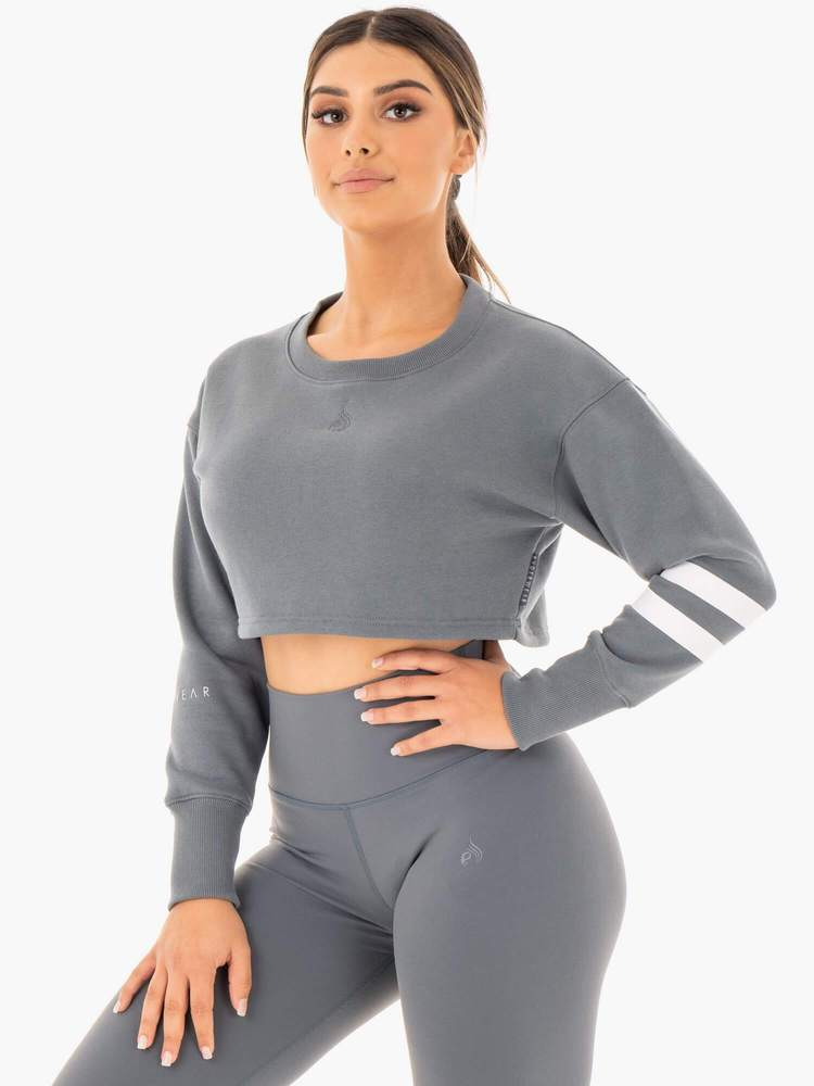 Motion Cropped Sweater Charcoal