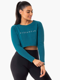 Staples Cropped Sweater Emerald