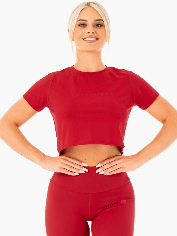 Motion Cropped T-Shirt Red