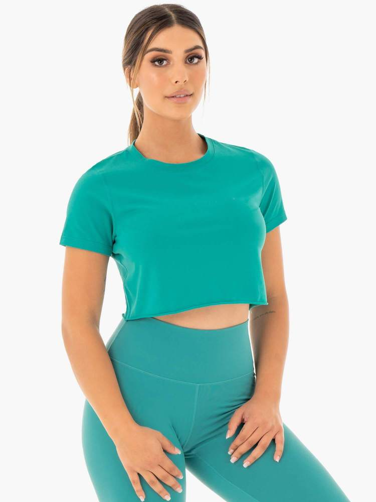 Motion Cropped T-Shirt Teal